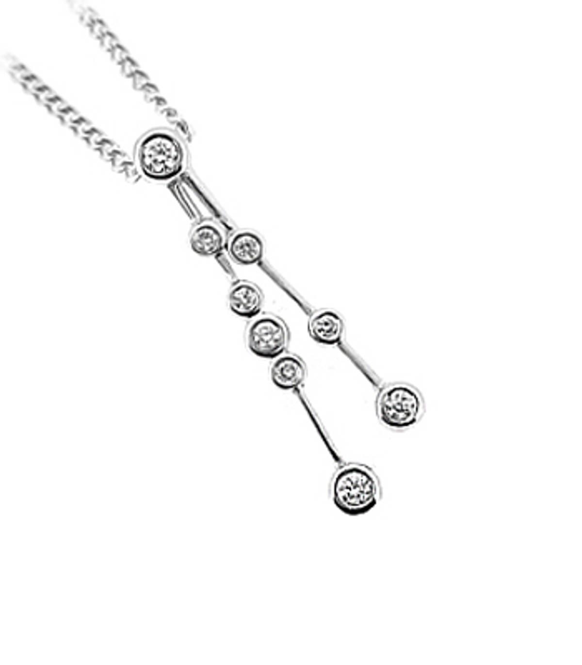 DP38379 stone diamond rubover set drop pendantPictured item: total 0.13ct brilliant cut diamond set in 18k white goldAvailable in: 18k gold