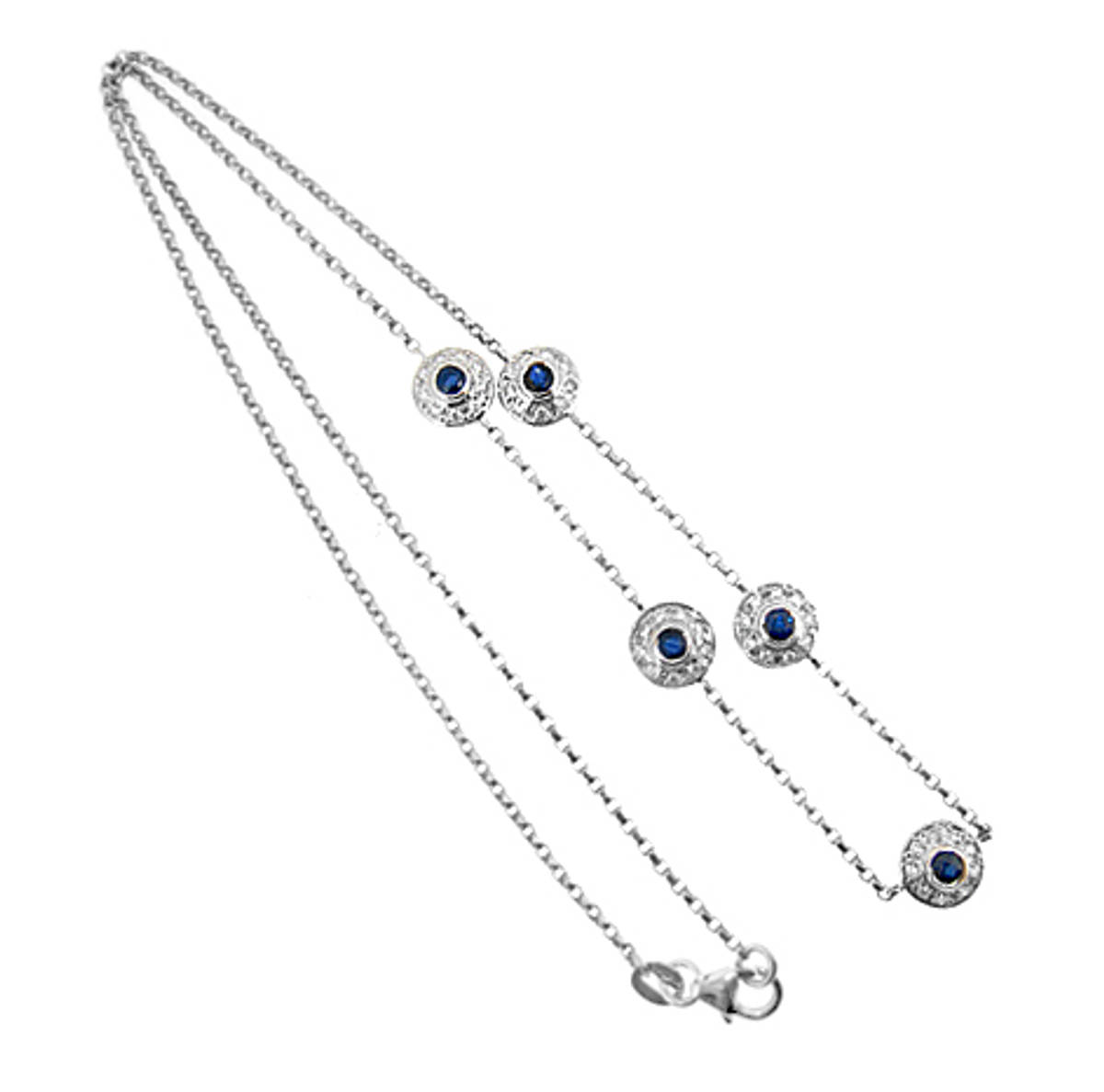 Sapphire and diamond cluster necklacePictured item: 0.40ct diamonds/0.50ct sapphire set in 18k white gold