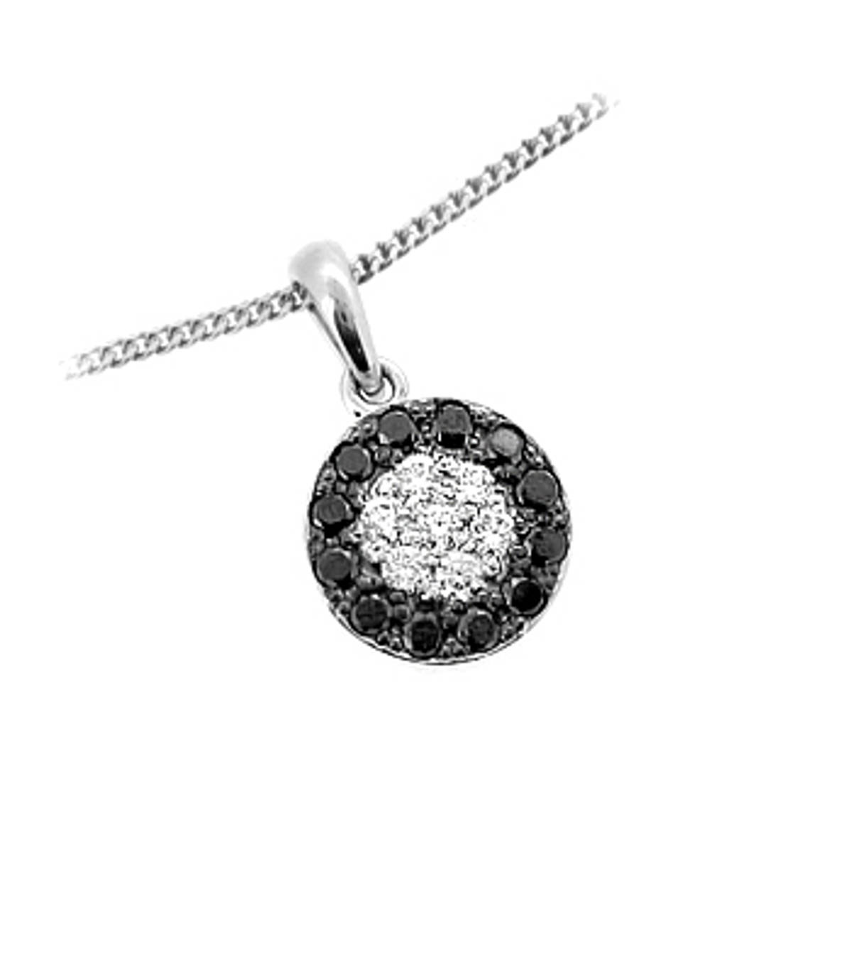 "18k white gold black diamond & white diamond cluster pendant on 18k white gold 18"" chainDETAILStotal white diamond weight 0.21ctstotal black diamond weight 0.36cts SIZE & FITPendant width  1.1cmPendant length including loop  2cm"