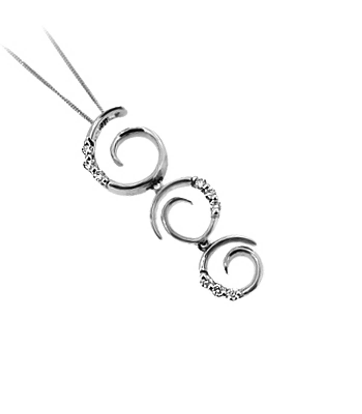 """9 carat white gold pendant with 0.13cts diamonds on 18\"""" chain"""