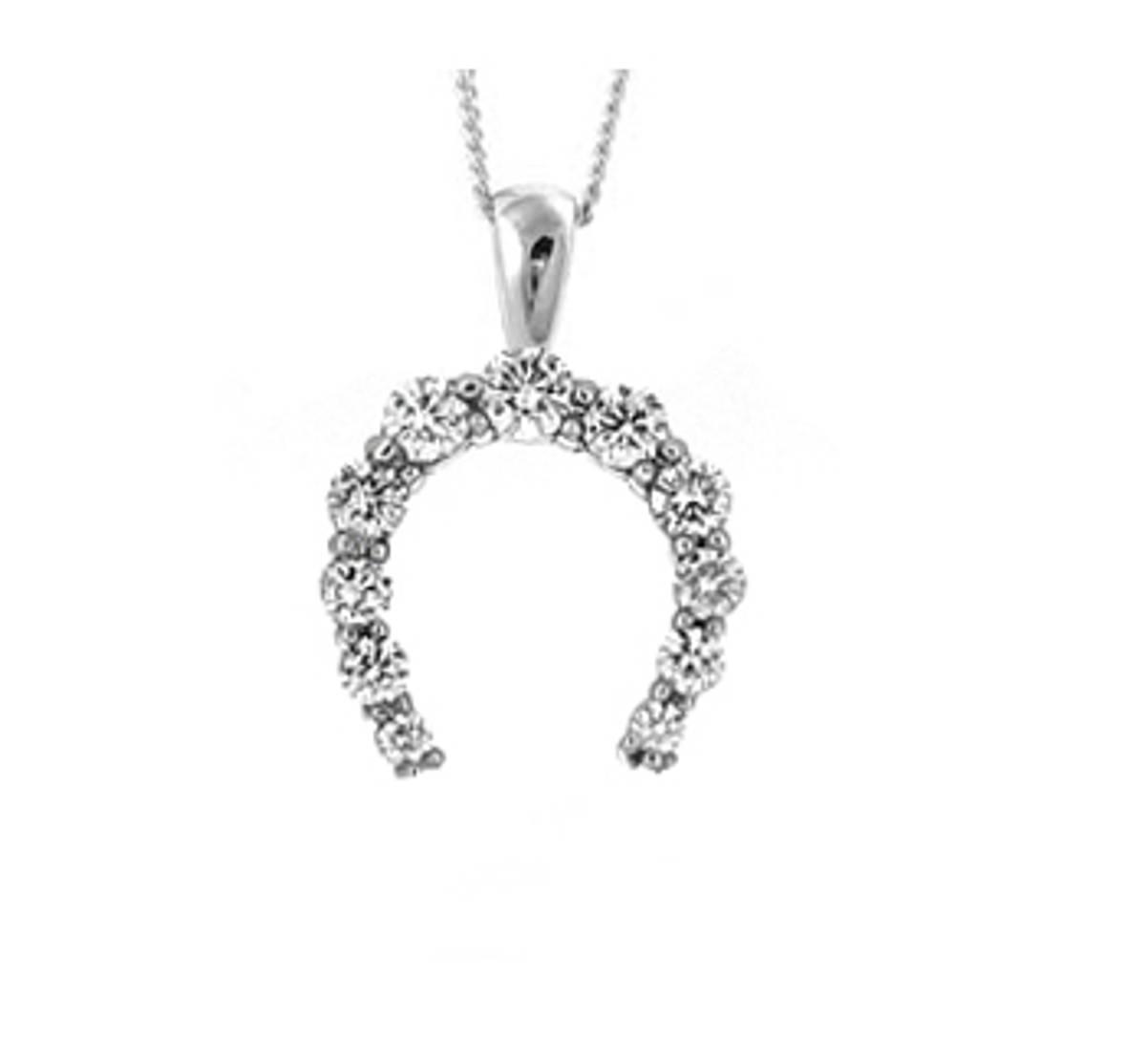 18 carat white gold horseshoe pendant with 0.61cts diamonds