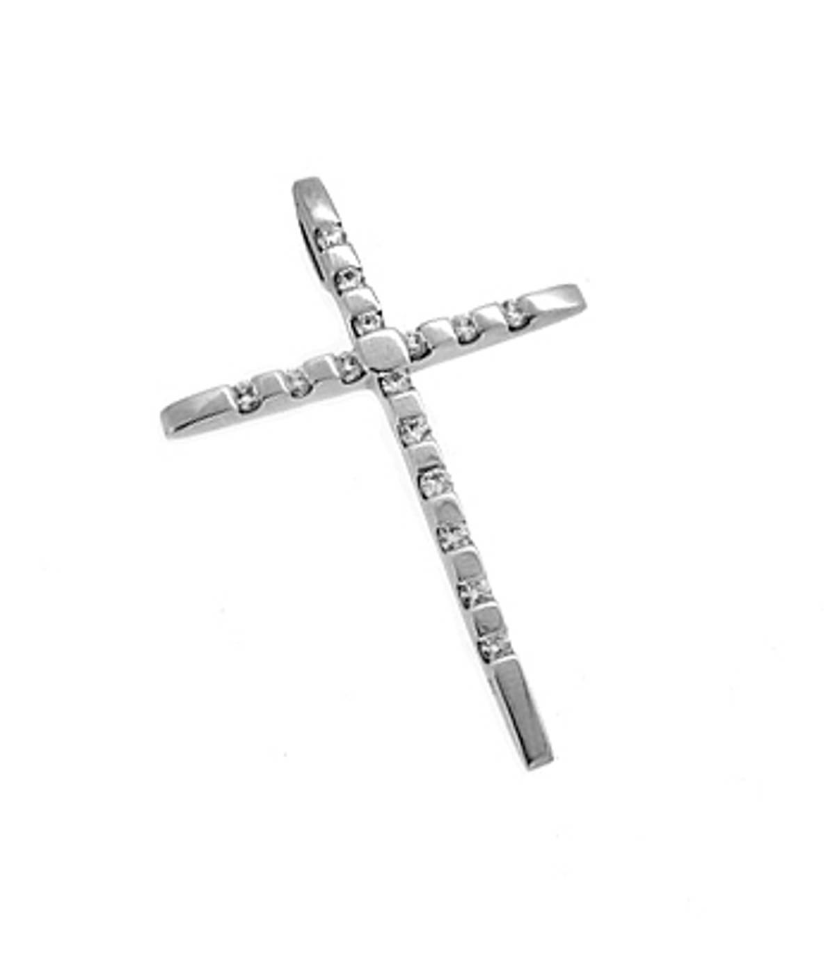 10 carat white gold 0.45cts diamonds cross pendant
