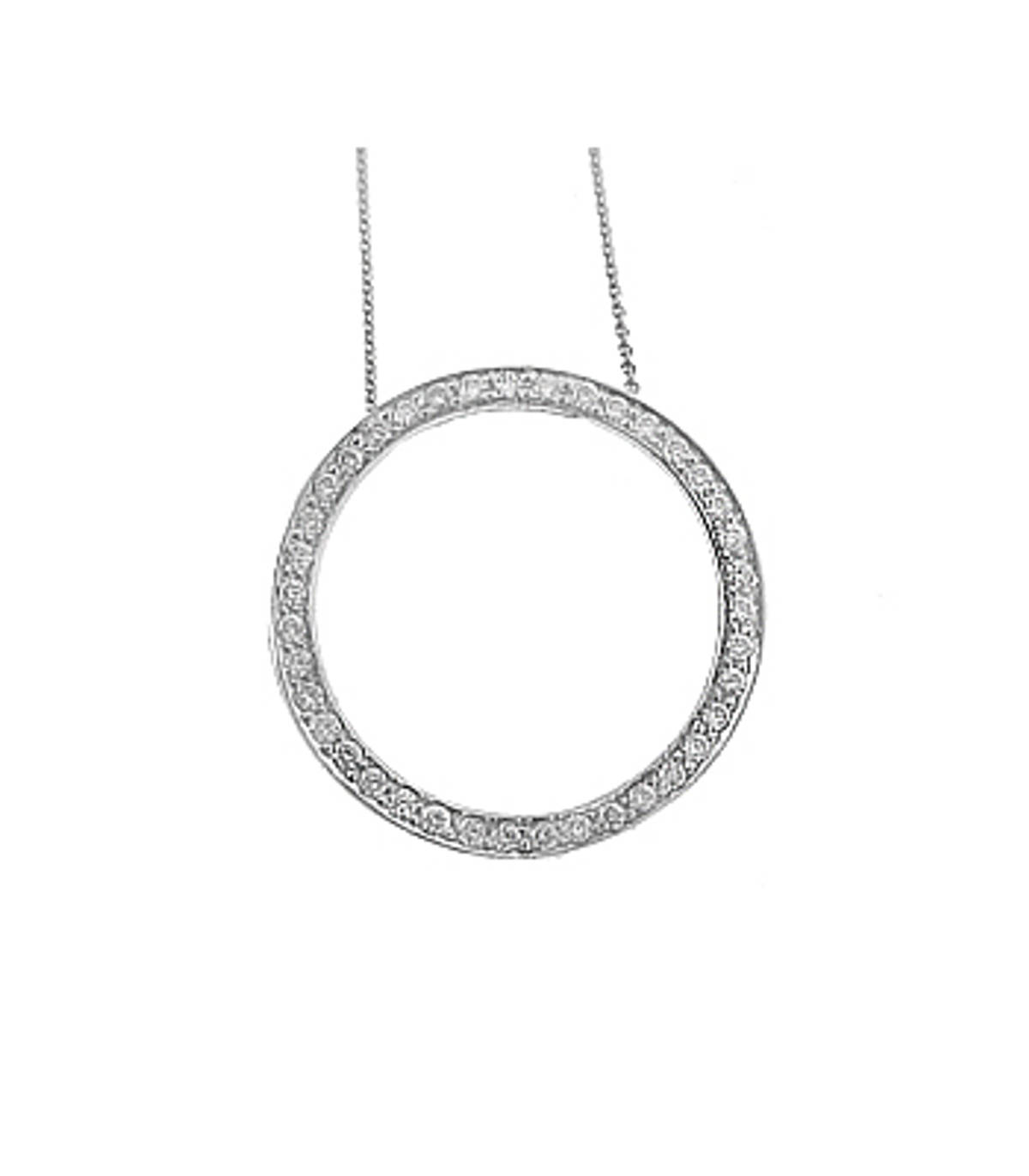 "18k White Gold Brilliant Cut Diamond Circle Pendant On 18k White Gold 18"" Chain Total Diamond Weight 0.31cts  Pendant length 2.1cmPendant width 2.1cm"