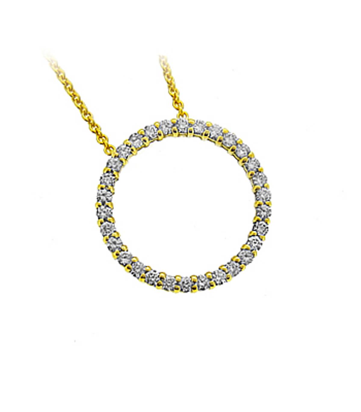 "18k Yellow Gold Brilliant Cut Diamond Circle Pendant On 18k Yellow Gold 18"" Chain Total Diamond Weight 0.37cts Metal: 18k Yellow Gold Pendant length 1.6cmPendant width 1.6cm"
