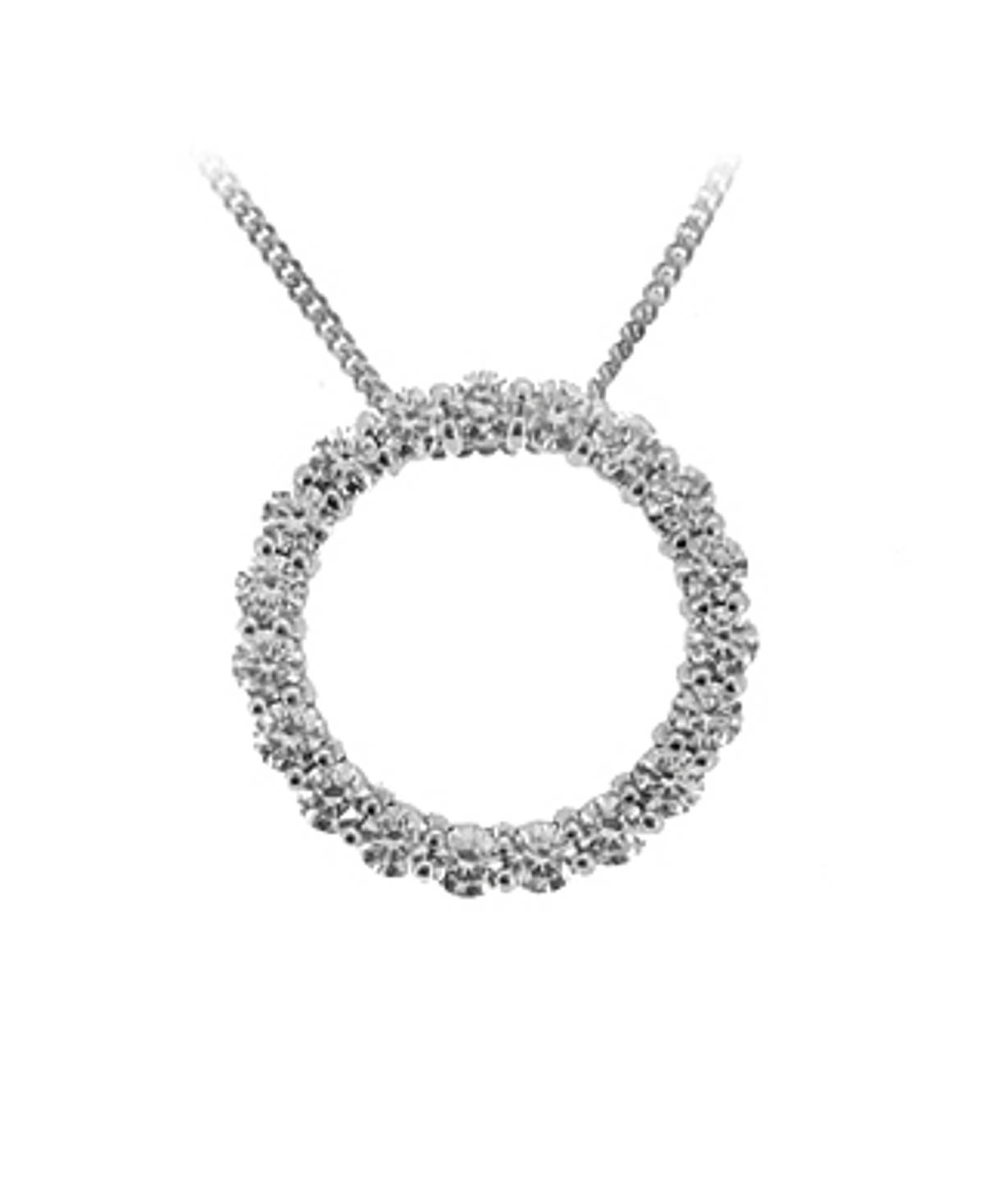 "18k White Gold Brilliant Cut Diamond Circle Pendant On 18k White Gold 18"" Chain Total diamond weight 1.81cts  Pendant length 2.1cmPendant width 2.1cm"