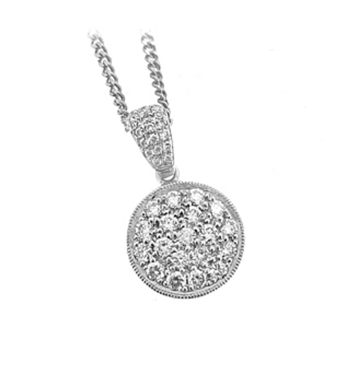 "18k white gold brilliant cut diamond cluster pendant on 18k White gold 18"" chain Total Diamond Weight 0.50cts Pendant Length 1.6cmPendant width 1.1cm"
