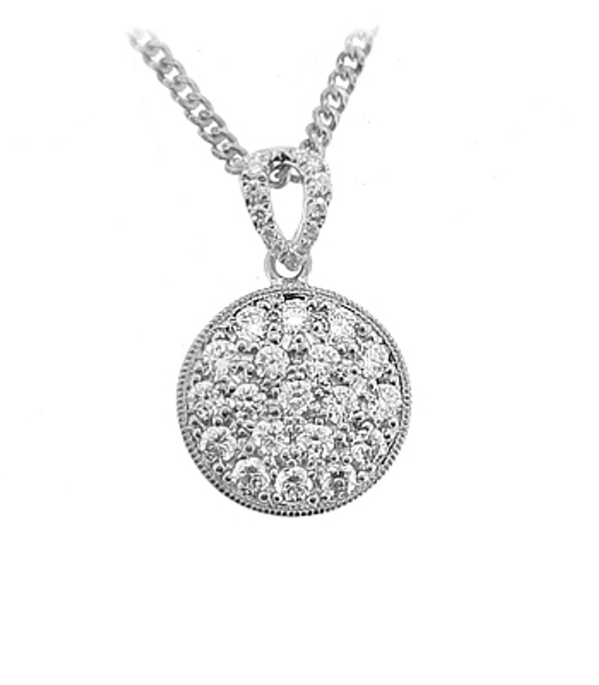 "18k White Gold Brilliant Cut Diamond Cluster Pendant On 18k White Gold 18"" Chain Total Diamond Weight 0.45cts Pendant length 1.6cmPendant width 1.1cm"