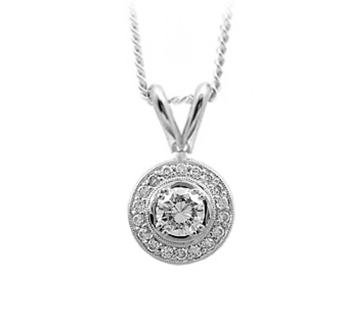 "18k White Gold Brilliant Cut Diamond Cluster Pendant On 18k White Gold 18"" Chain Total Diamond Weight 0.54cts  18k White Gold Pendant Length 1.9cmPendant width 1.1cm"