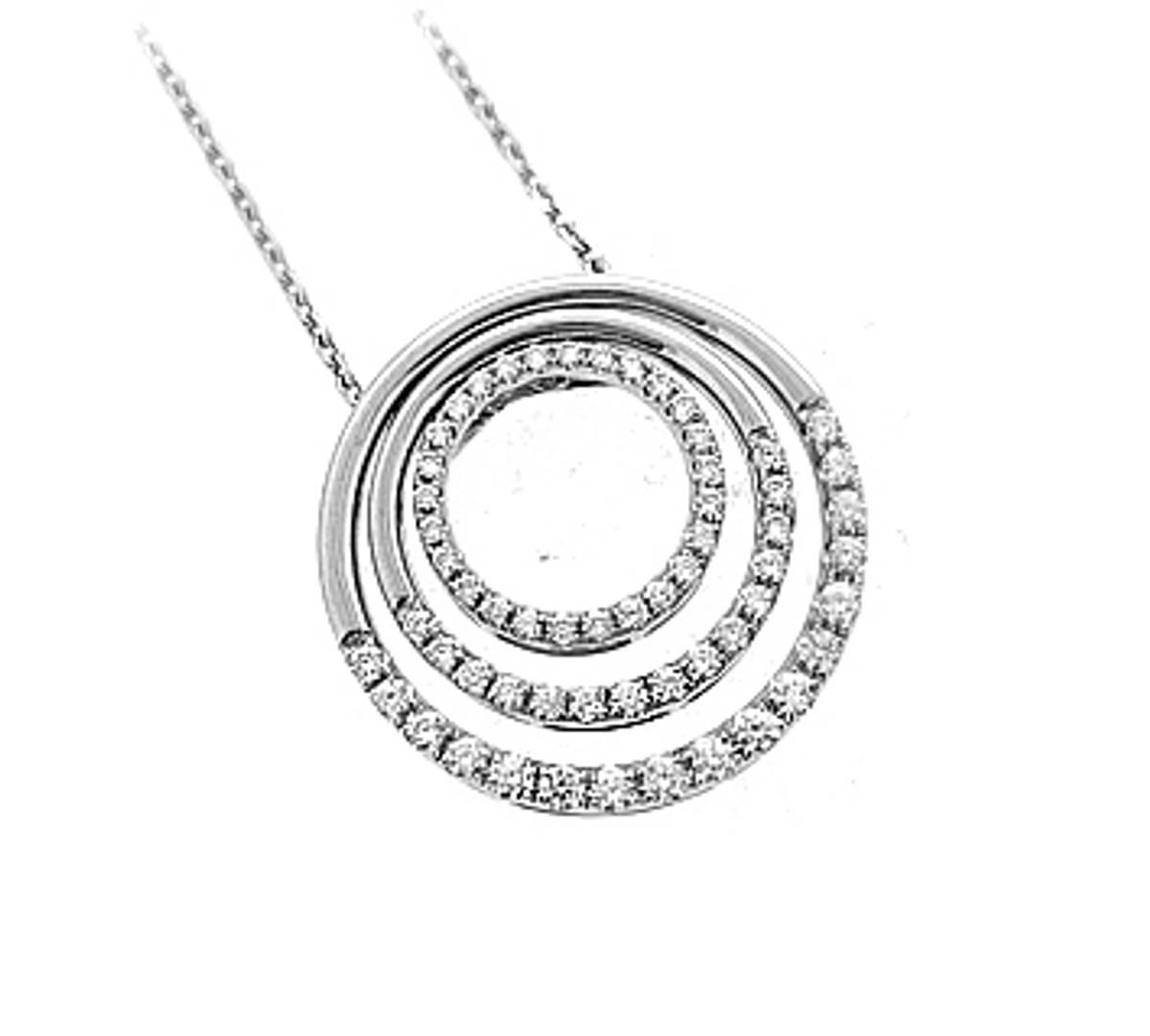 "18k white gold brilliant cut diamond circle pendant on 18k white gold 18"" chainDETAILSCarat: total diamond weight 0.73ctsMetal: 18k white gold Made in Ireland"