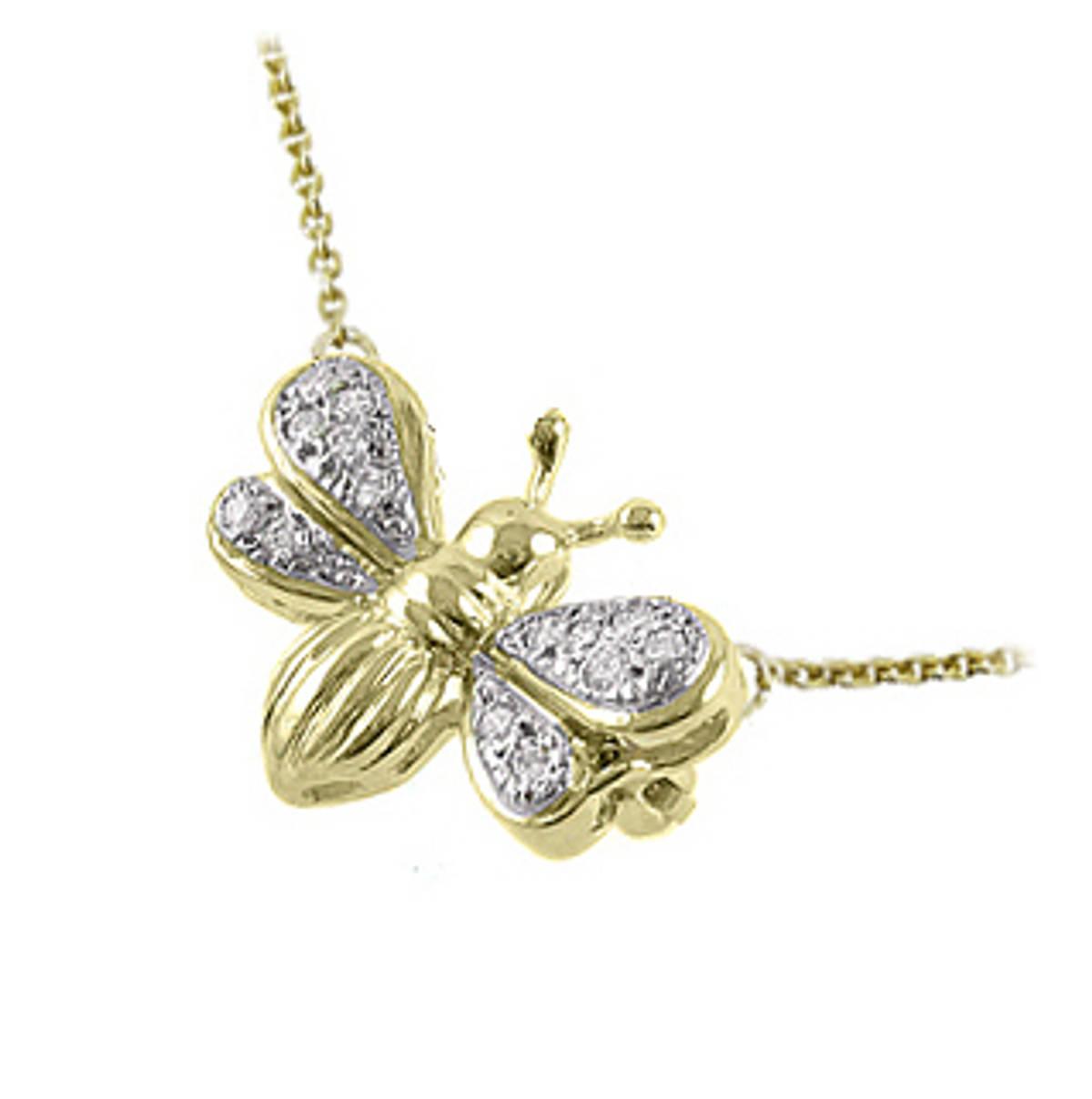 "9k yellow gold brilliant cut diamond bee pendant on chainDETAILSCarat: total diamond weight 0.08cts9k yellow gold 18"" chain SIZE & FITPendant length 1.8cmPendant width 1.9cm"