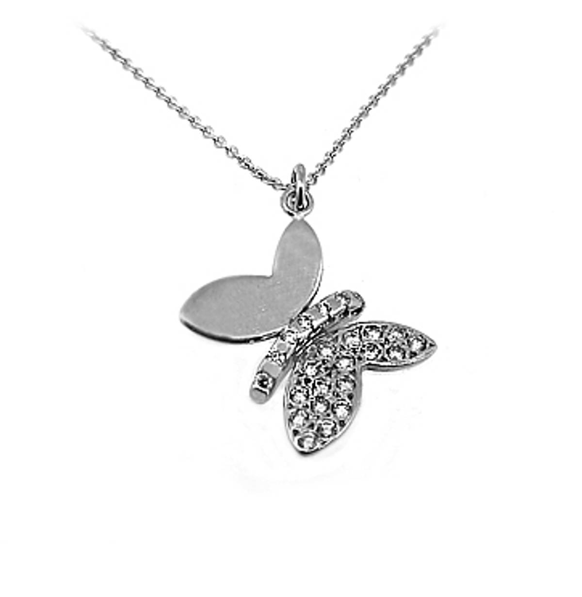 "18k white gold brilliant cut diamond butterfly pendant on 18k white gold 18"" chainDETAILStotal diamonds 0.20cts"