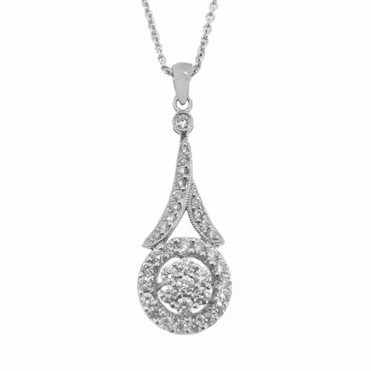 """18k White Gold Brilliant Cut Diamond Cluster Pendant On 18k White Gold 18"""" Chain Total Diamond Weight 0.60cts Pendant length including loop  3cmPendant width 1cm"""