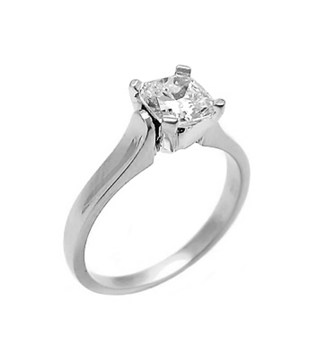 Irish made1.04carat cushion shape diamond ring set in 18ct white gold