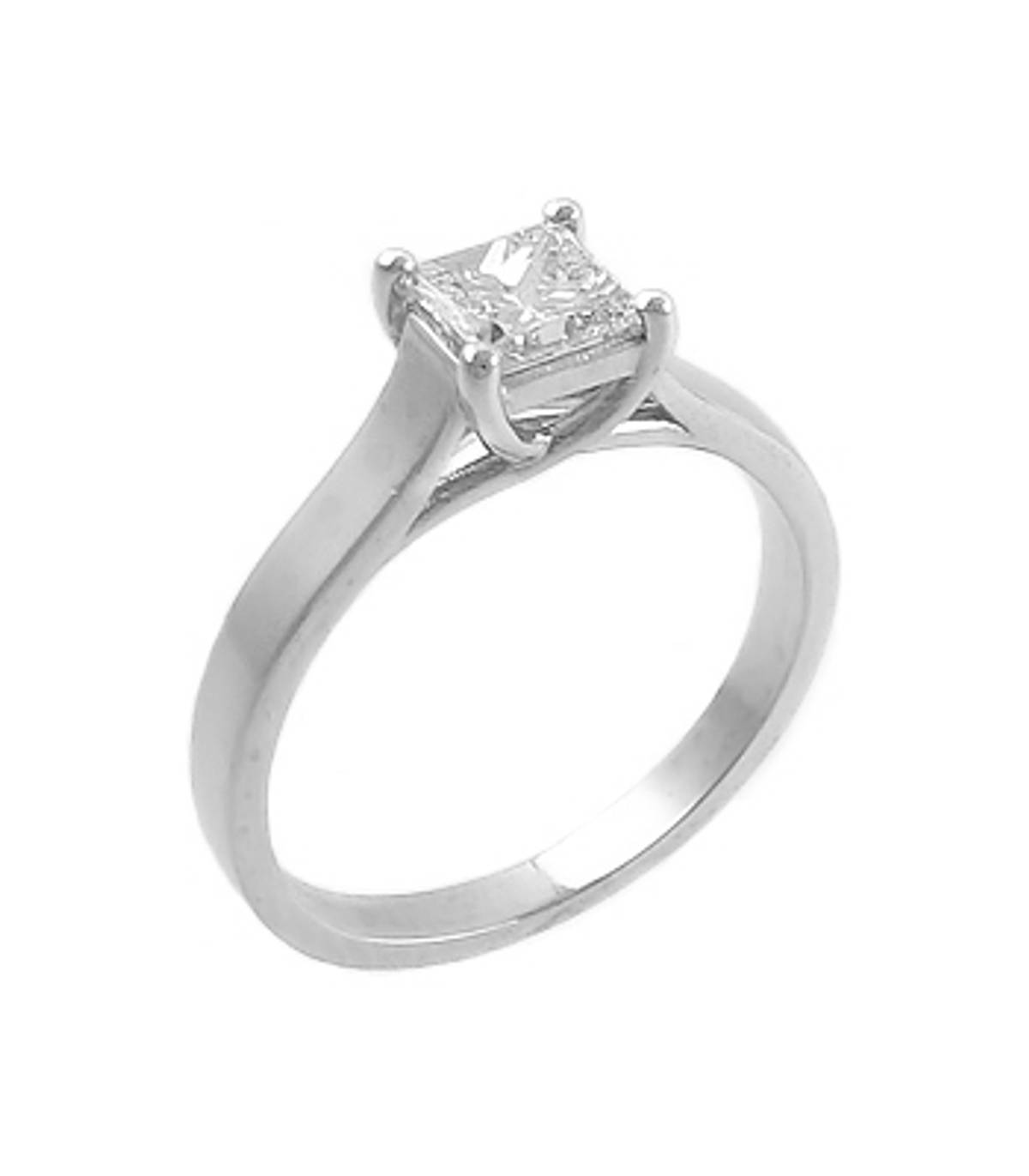 Irish madeprincess cut 0.50ct diamond solitaire ring set in platinum
