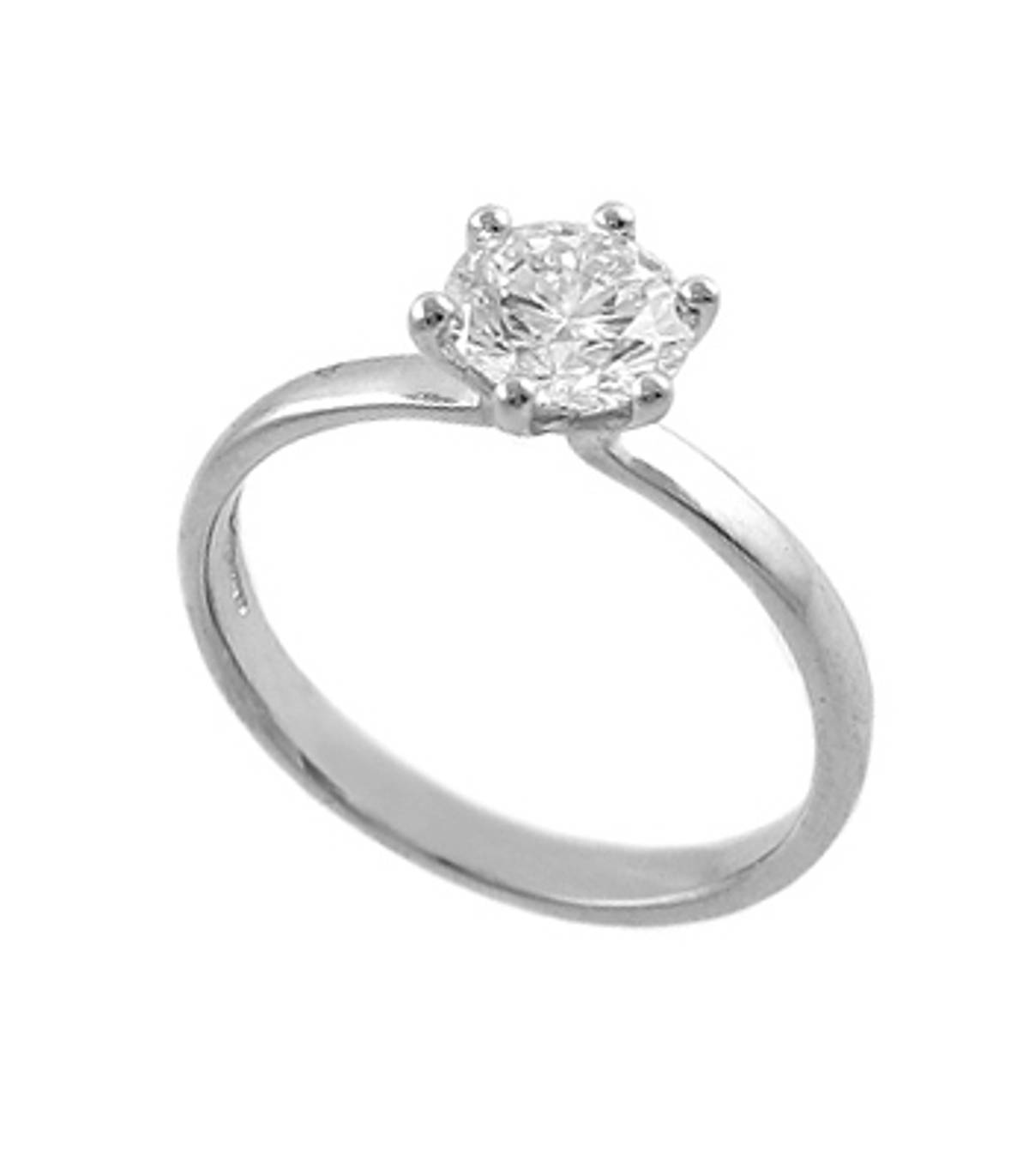 Irish madediamond solitaire engagement ring with 0.86 carat brilliant cutdiamond solitaire set in platinum
