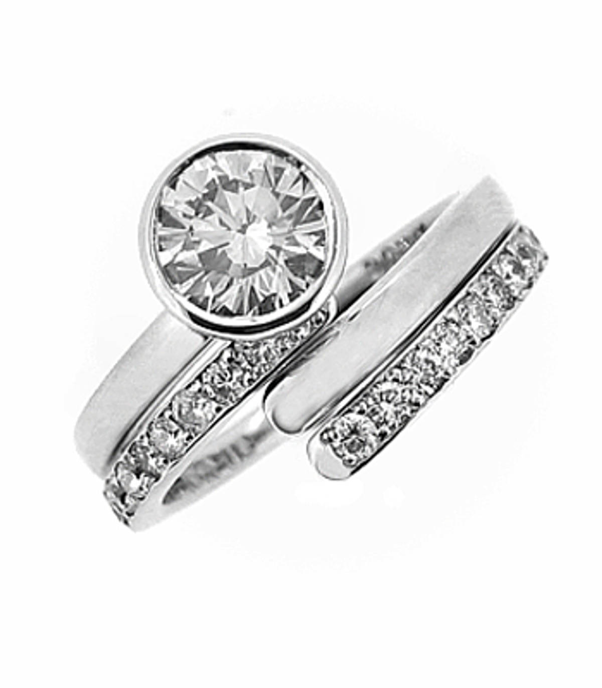 Irish made2 band diamond swirl ring with 0.31 carat brilliant cut centre diamond with 0.14 brilliant cut diamonds in band all in 18 carat white gold