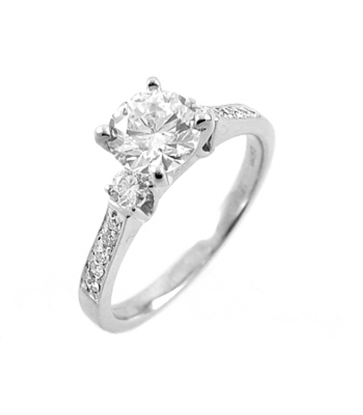 18ct white gold irish-made engagement ring with one 0.40 carat brilliant cut centre diamond, and 0.20 carat brilliant cut diamonds in shoulders.