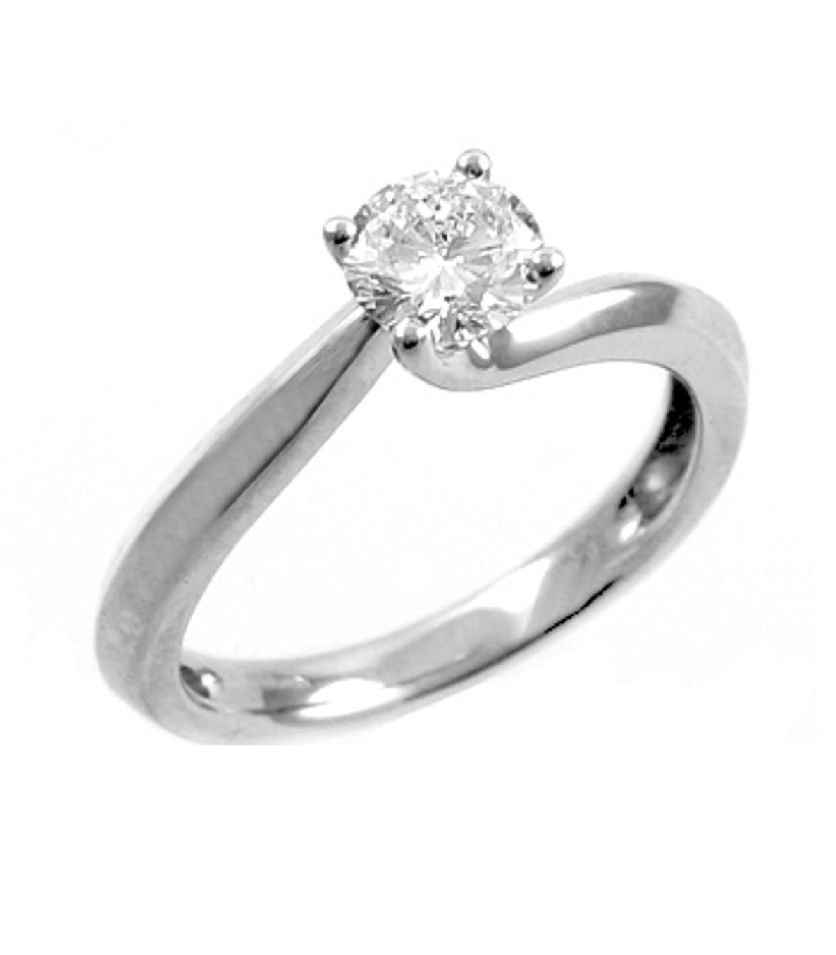 Irish made0.41ct brilliant cut diamond 4-claw twist engagement ringin 18ct white gold.