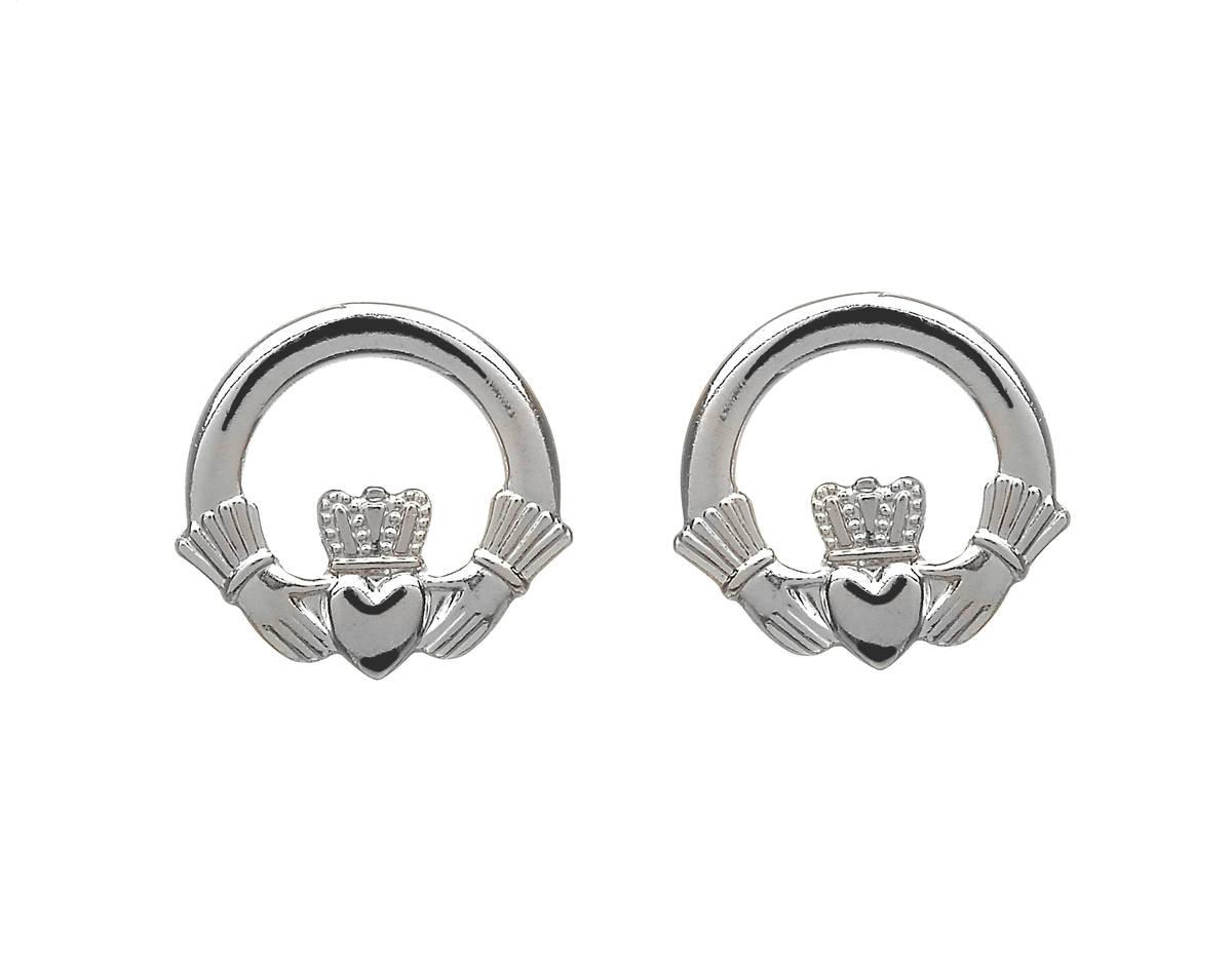 Silver Claddagh Stud Earrings 12mm