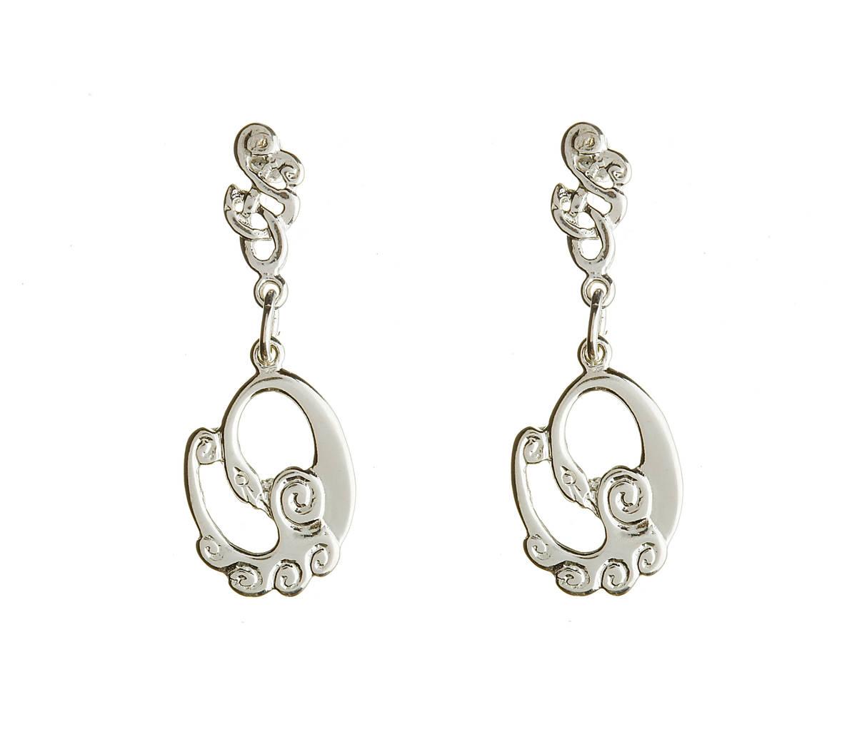 Silver Children Of Lir Drop Earrings Boxed