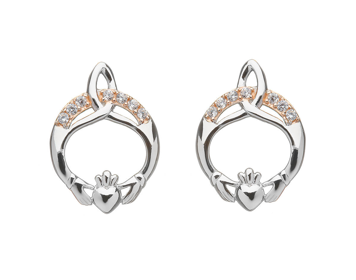 Silver Trinity Claddagh Studs With Cz In Rose Gold Plating