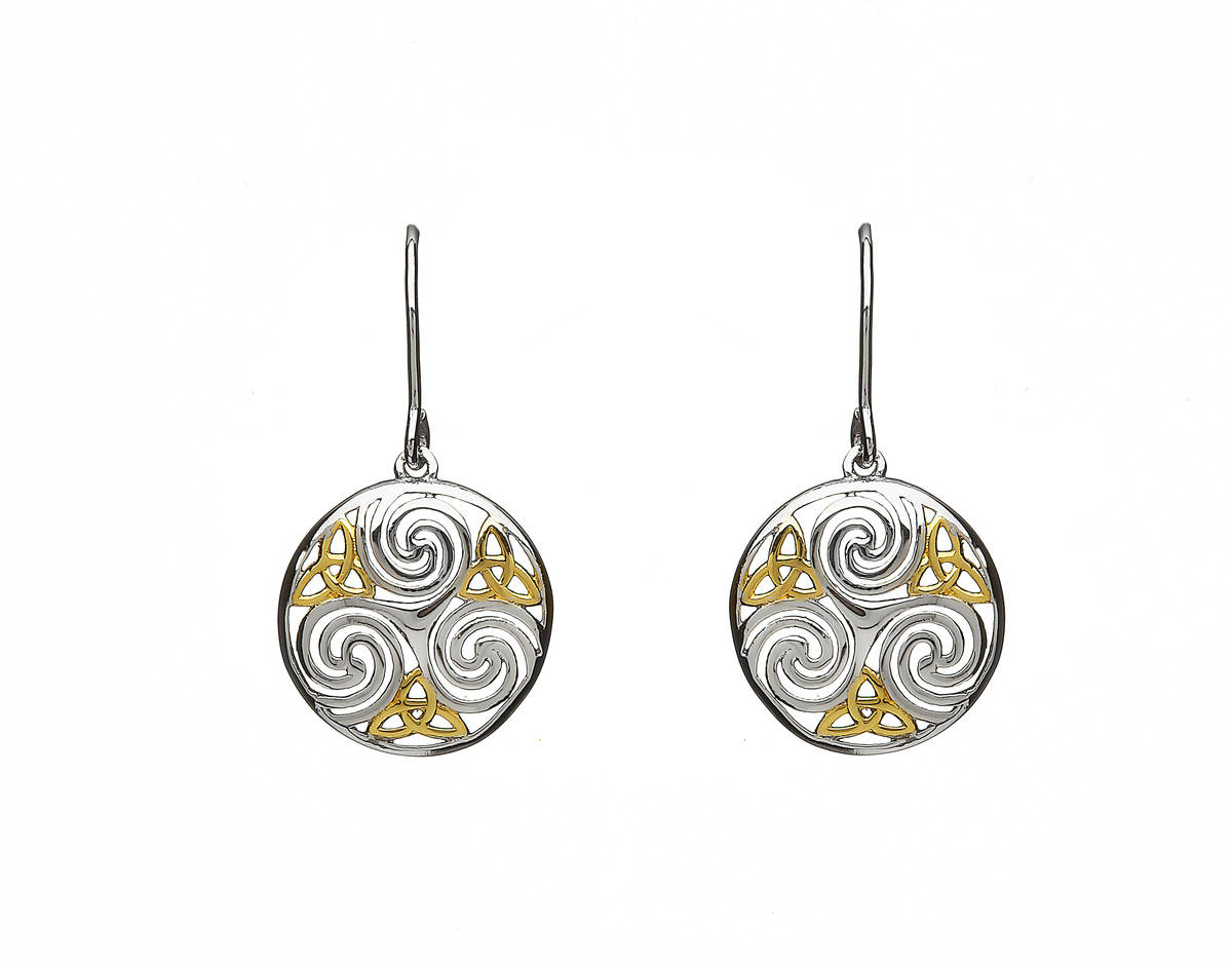 Silver Celtic Round Drop Earrings Gp Trinity Knots