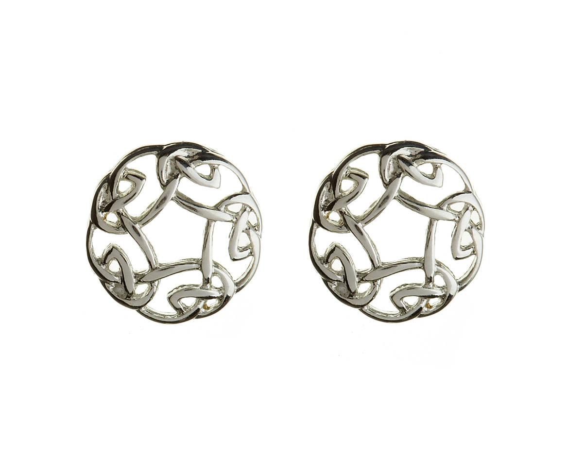 Silver Classic Newgrange Spiral Design Earrings 10mx9m