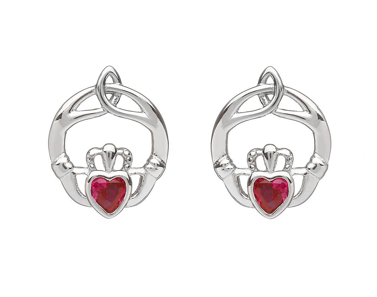 Silver Birthstone Stud Earrings Ruby