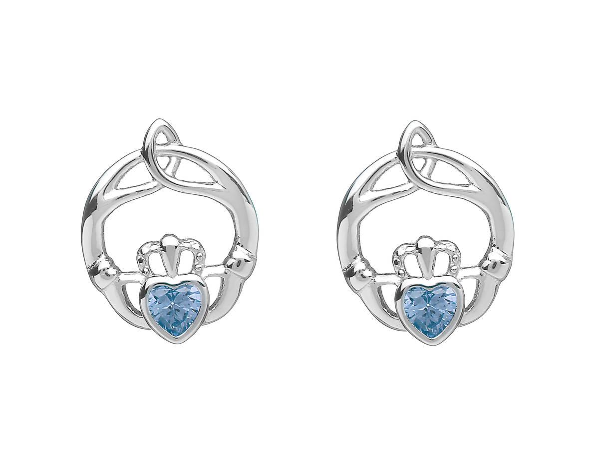 Silver Birthstone Stud Earrings Aqua Marine