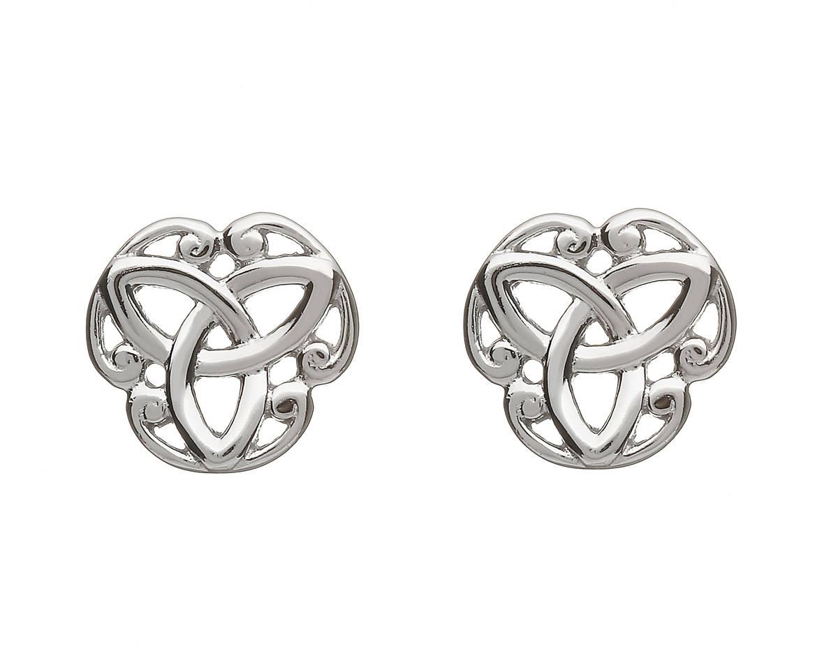 Silver Trinity Knot Stud Earrings