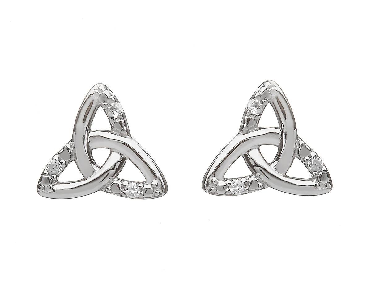 Silver Part Cz Trinity Knot Stud Earrings