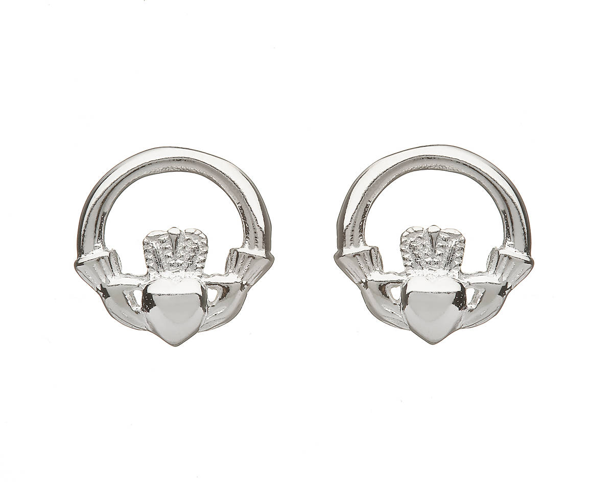 Silver Claddagh 12mm Stud Earrings
