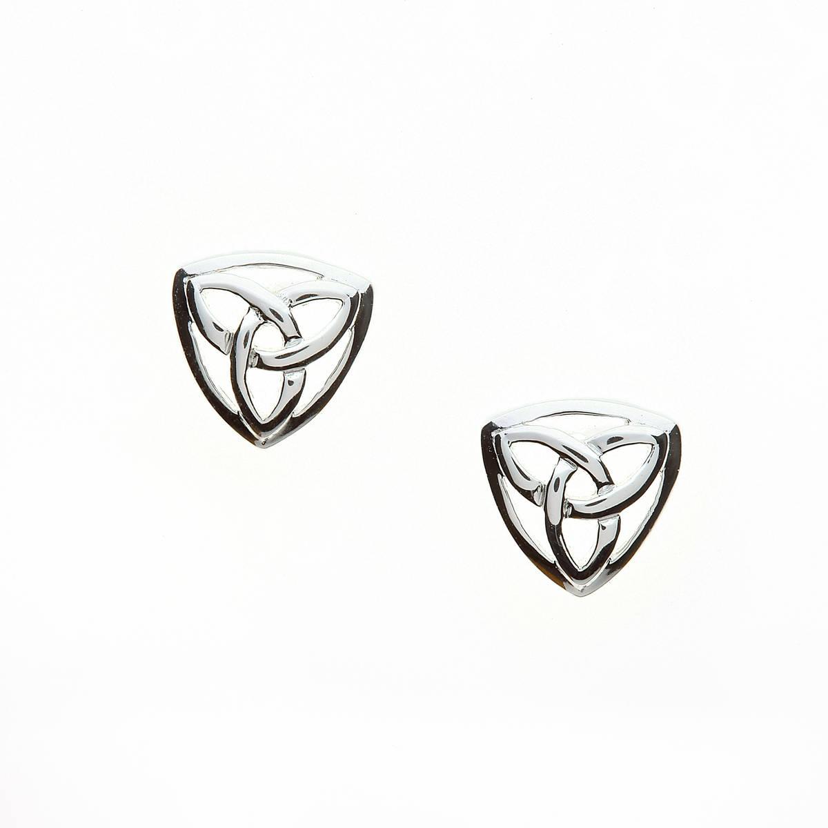 Silver Triangle Trinity Celtic Stud Earrings