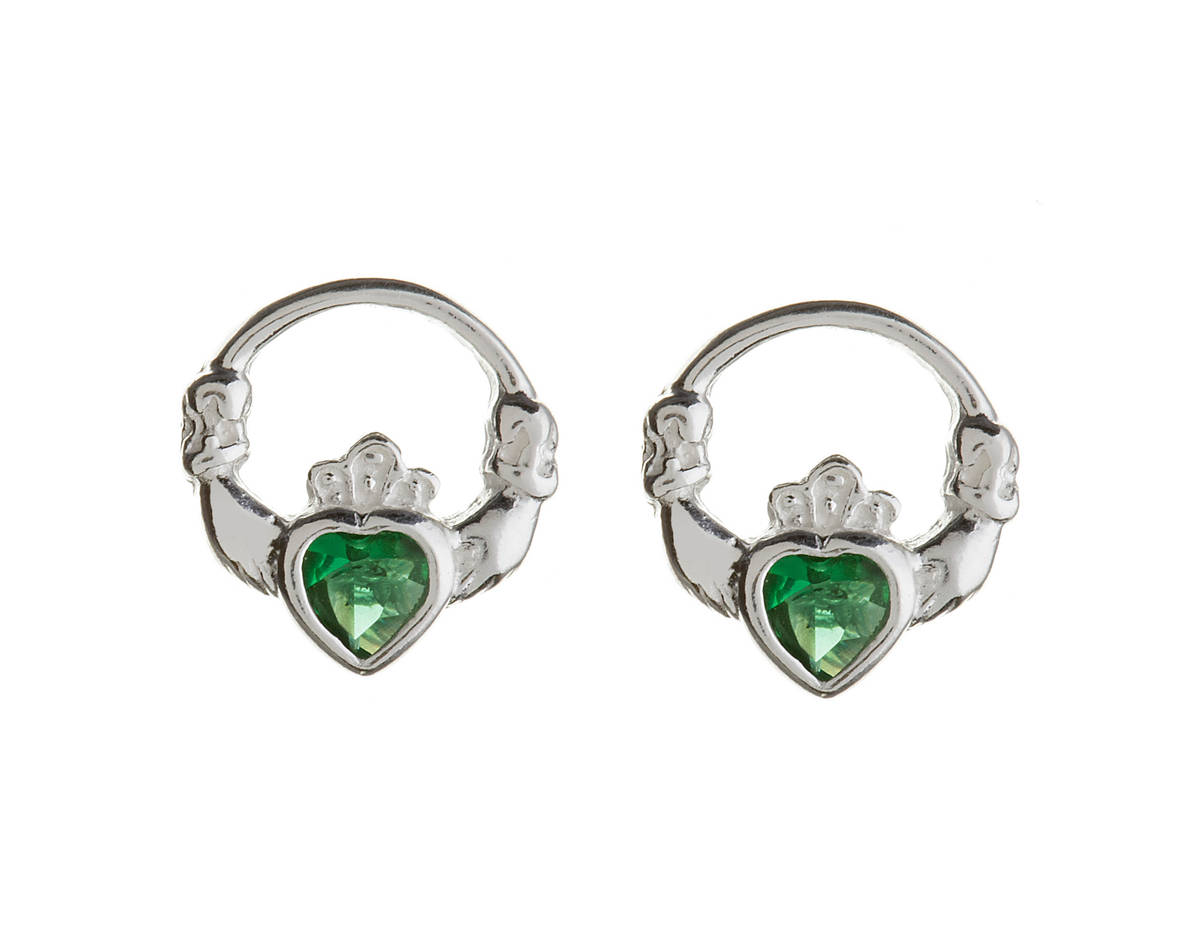 Silver Claddagh Studs With Green Cz Heart