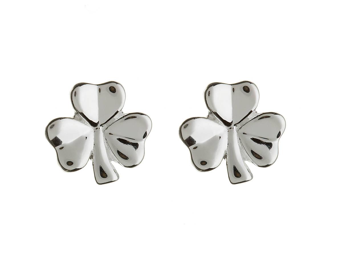 Silver Shamrock Stud Earrings