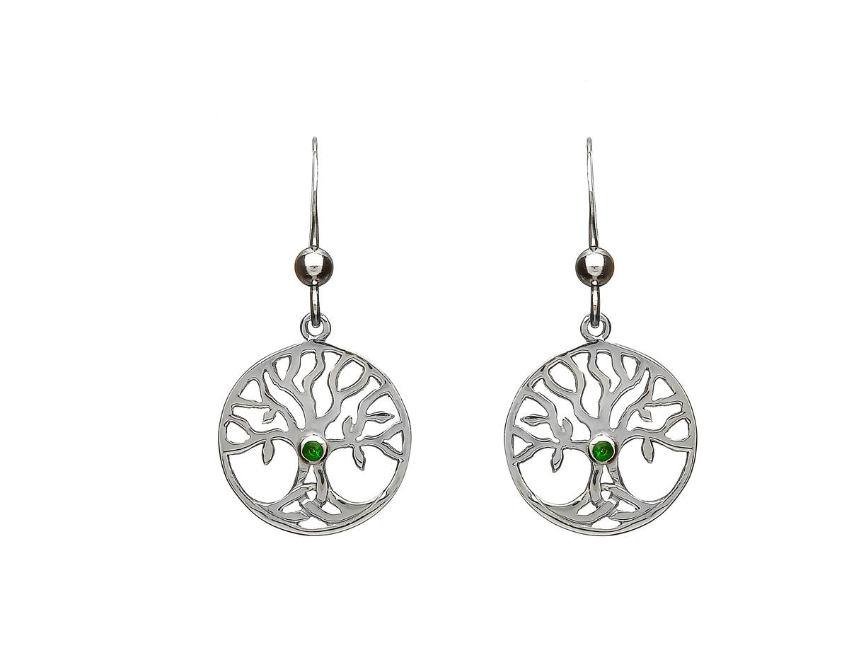 Silver Open Tree Of Life Drop Earrings With Green Cz Centre