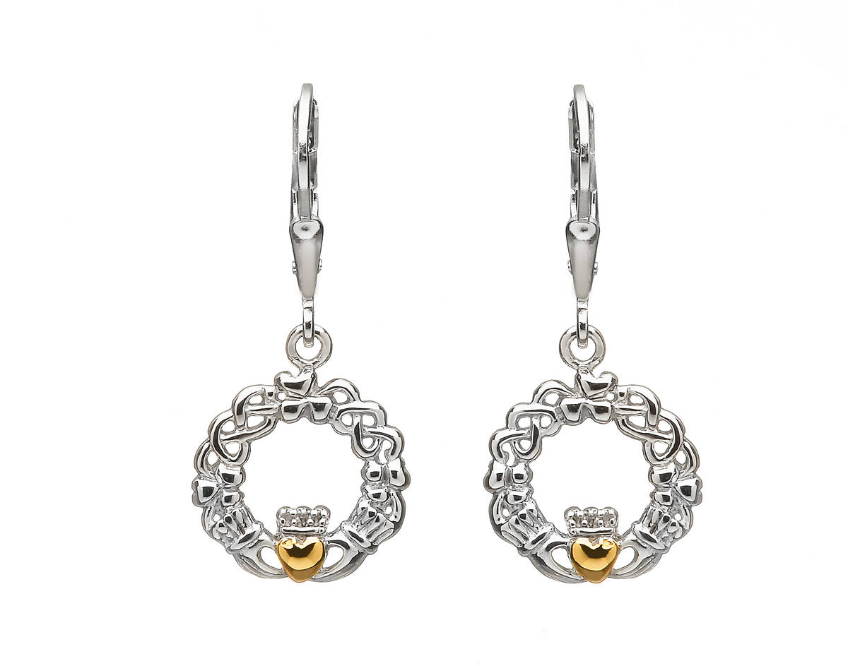 Sil Drop Claddagh/celtic Earrings With Gold Plate Heart