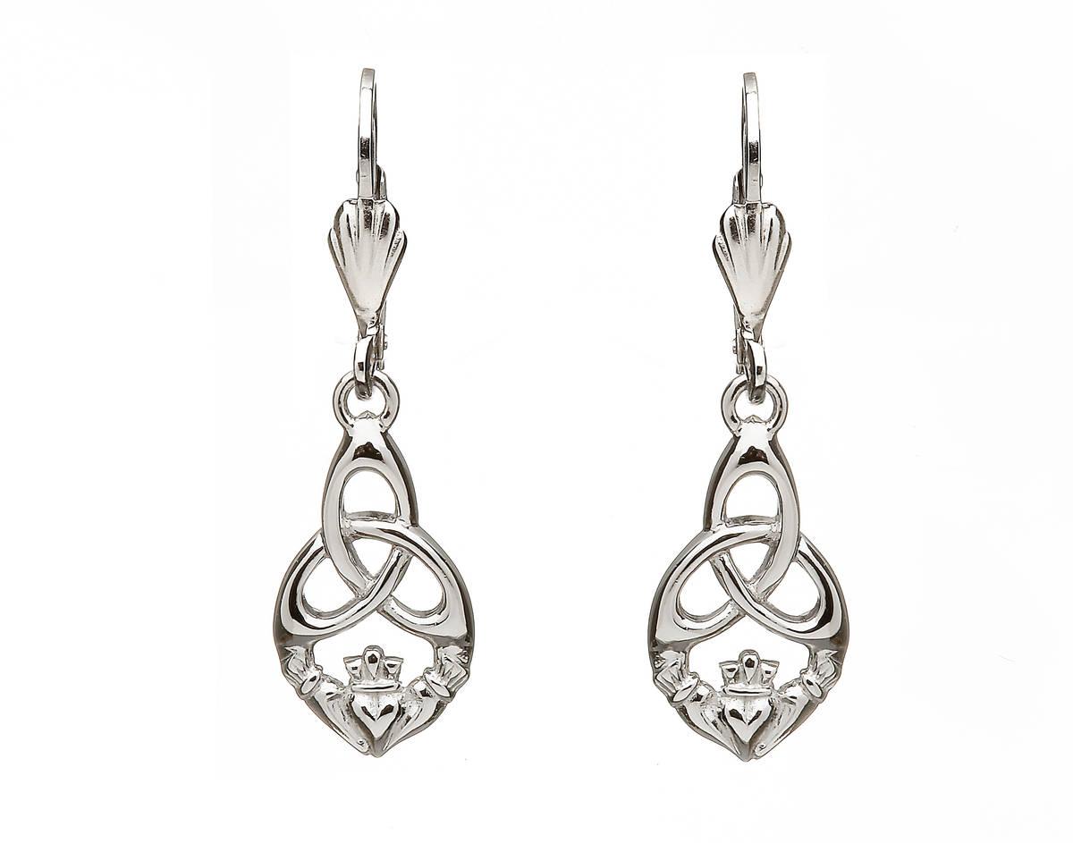 Sil Claddagh/trinity Drop Earrings
