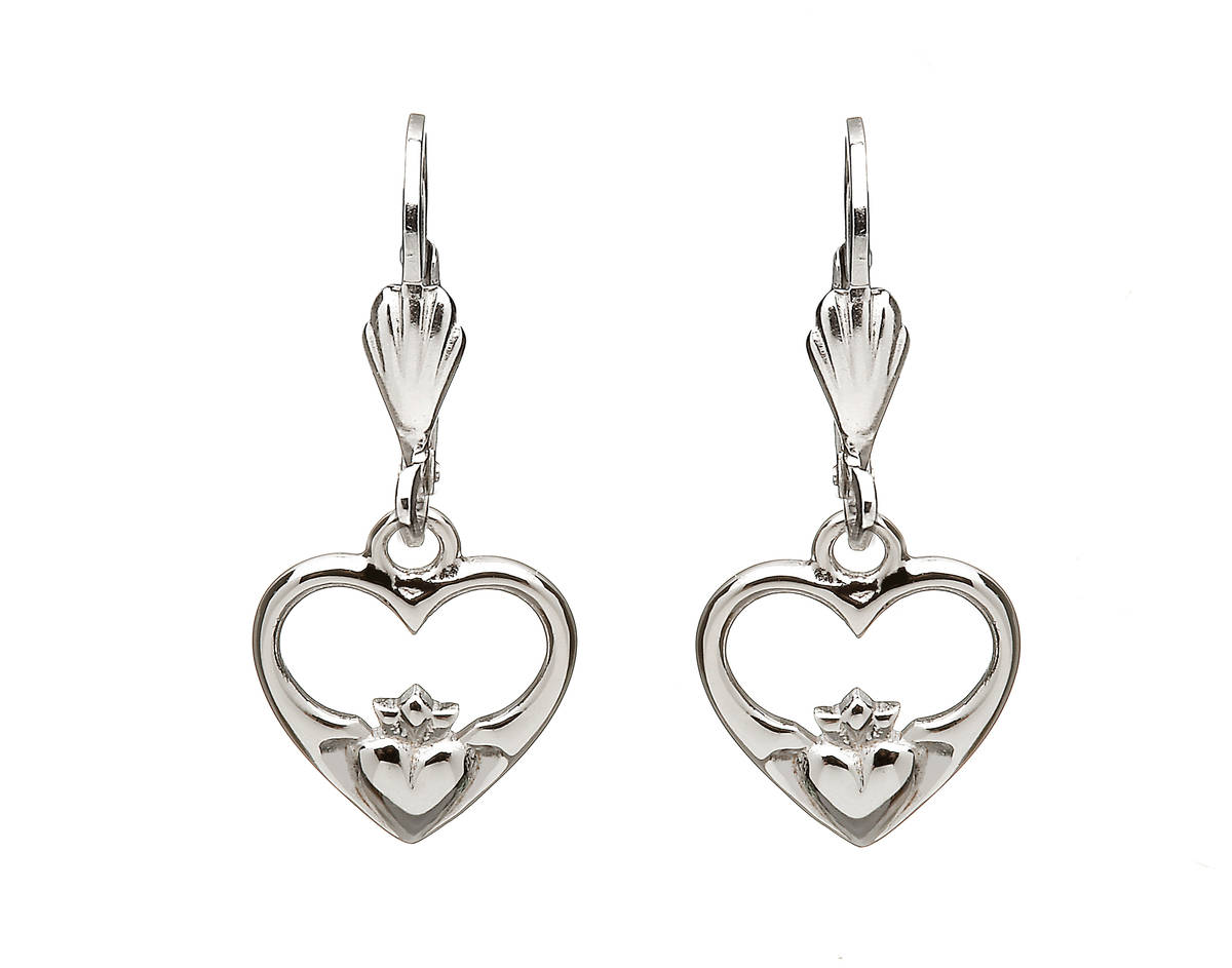 Silver Claddagh Heart Drop Earrings