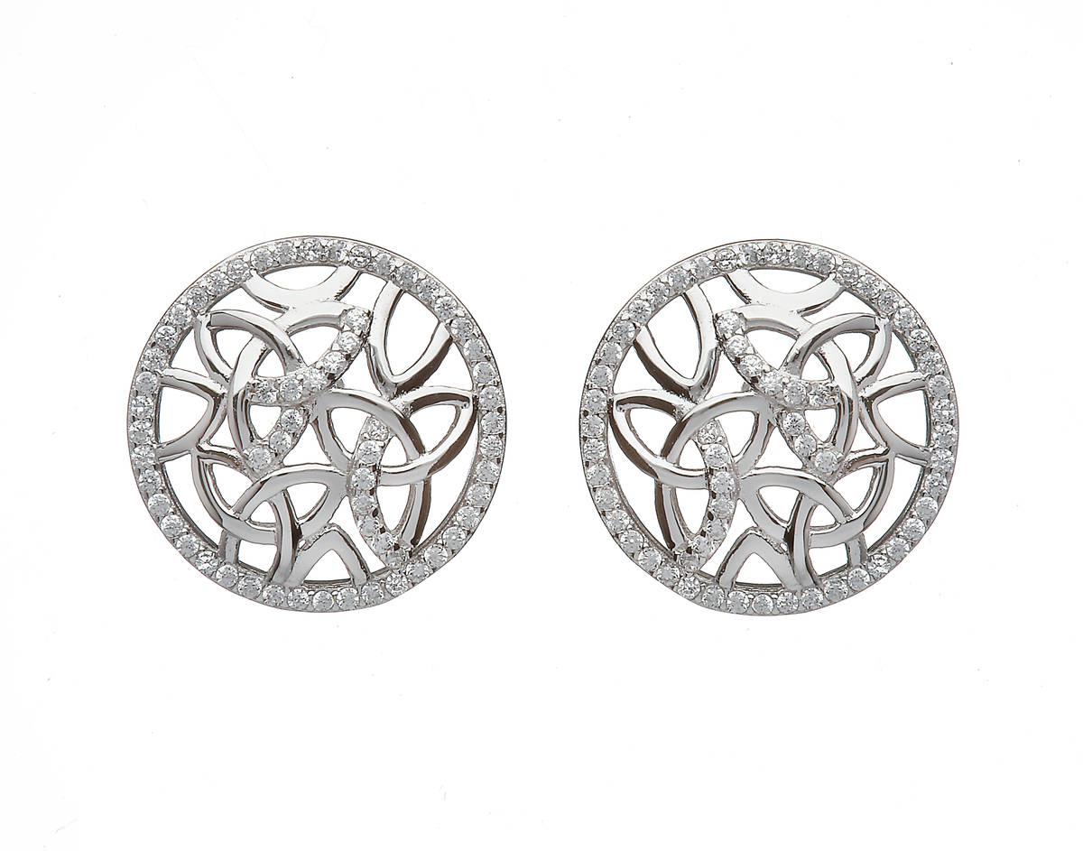 Sterling Silver Circular Trinity Knot Design Stud Earrings Set With Cubic Zirconias