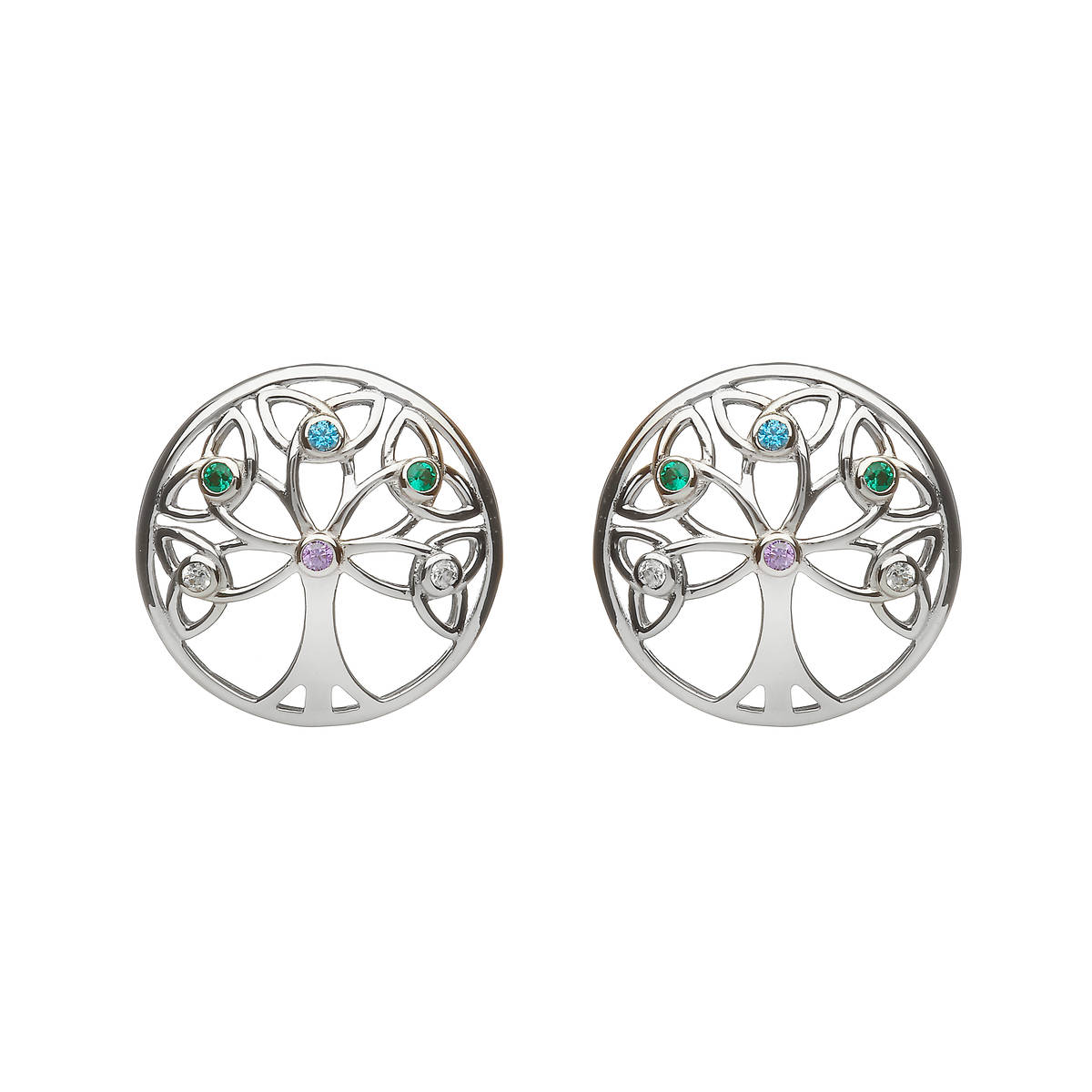 Sterling Silver Circular Tree Of Life Design Earrings Set With Cubic Zirconias