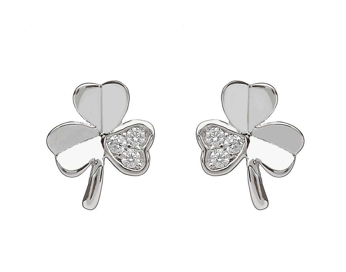Sterling Silver Shamrock Design Stud Earrings Set With Cubic Zirconias