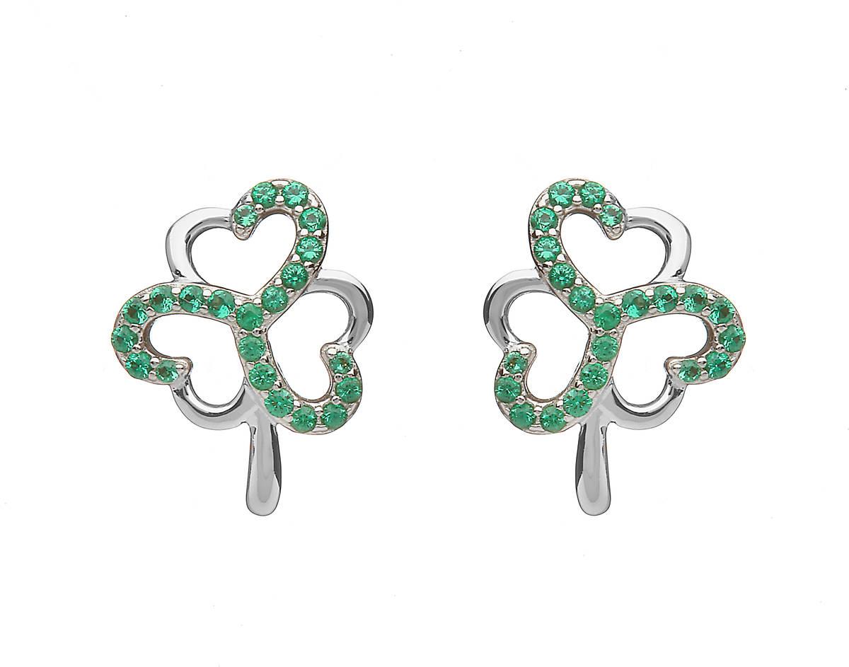 Sterling Silver Shamrock Design Stud Earrings Set With Emerald Green Cubic Zirconias