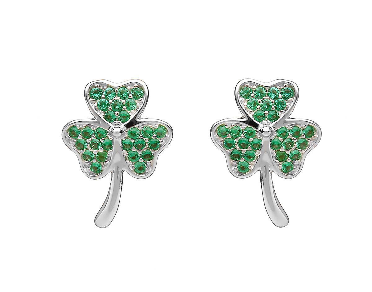 Silver Shamrock Stud Earrings With Green Cz