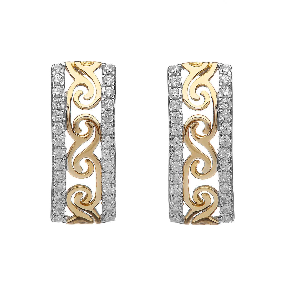 Silver/gp Celtic Huggie Earrings With Cz