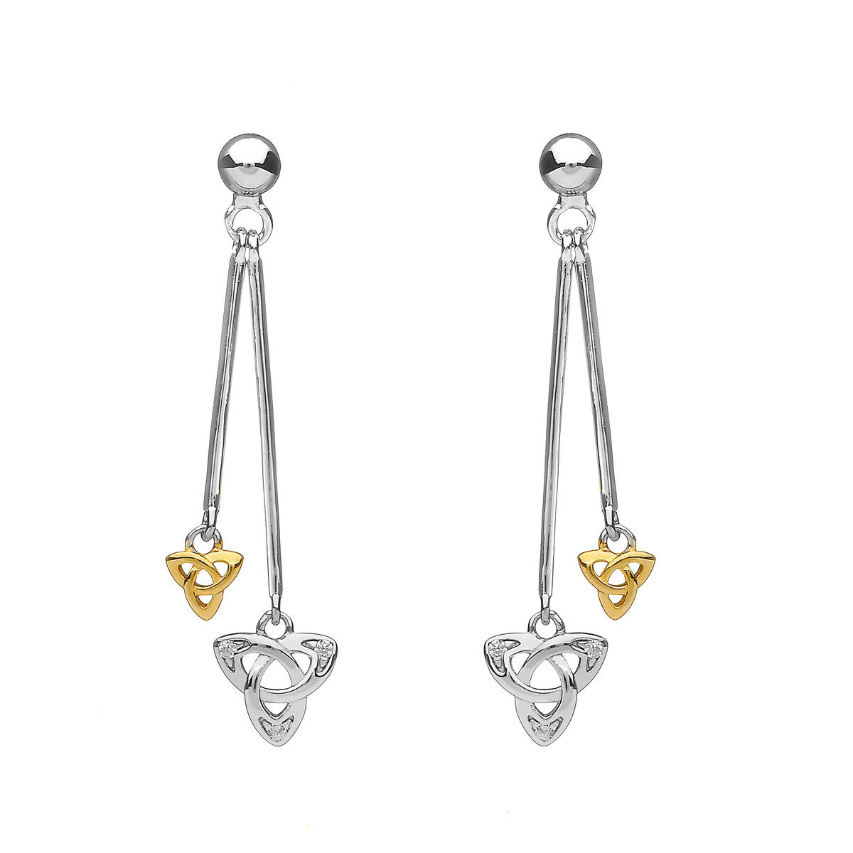 Silver Double Hanging Cz Trinity Earrings With One Ygp Trinity Knot