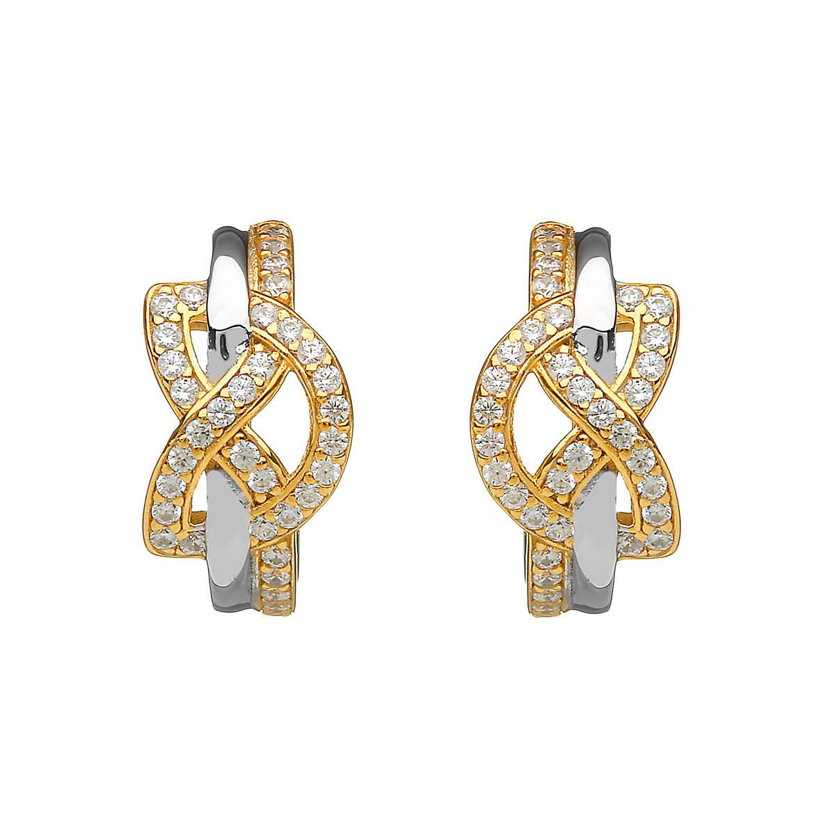 Silver Cz Two Tone Love Knot Huggy Stud Earrings