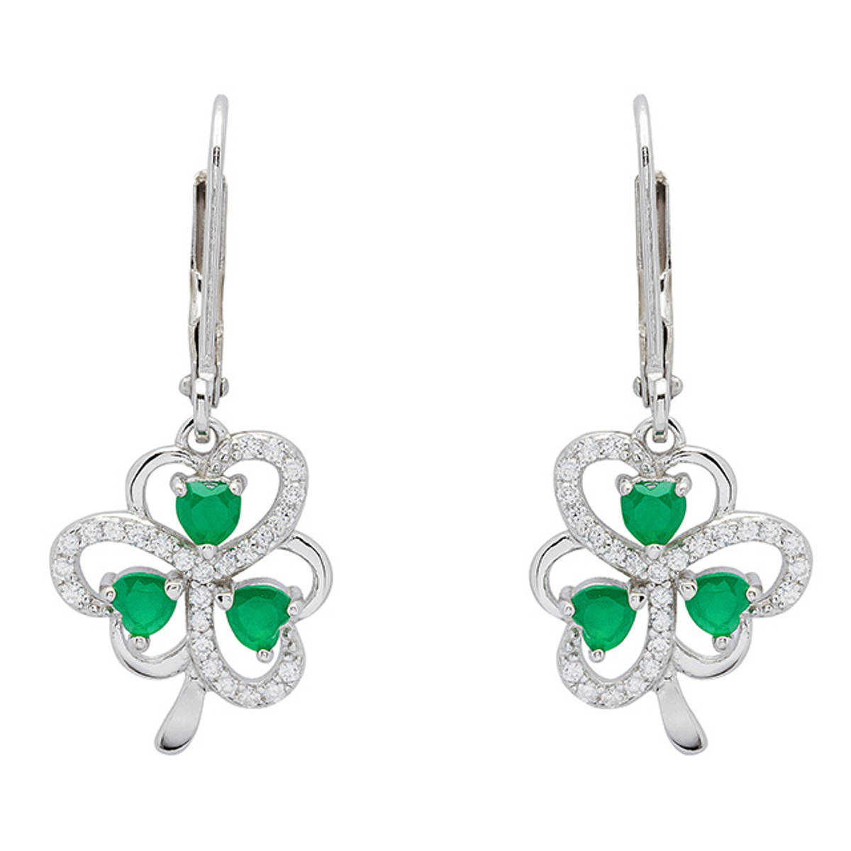 Sterling silver shamrock earrings with heart-shaped green agate and cubic zirconia.   Size: 15mm