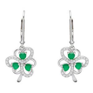 Silver Shamrock Earrings with Heart-Shaped Green Agate