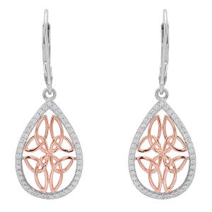 Silver and Rose Gold Celtic Drop Earrings